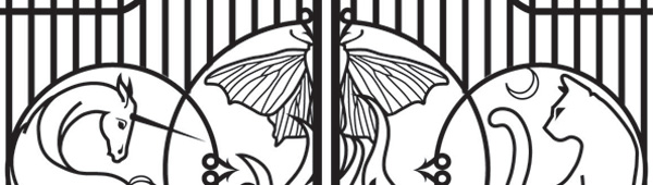 line drawing of a wrought iron gate featuring a unicorn, a cat, and a moth